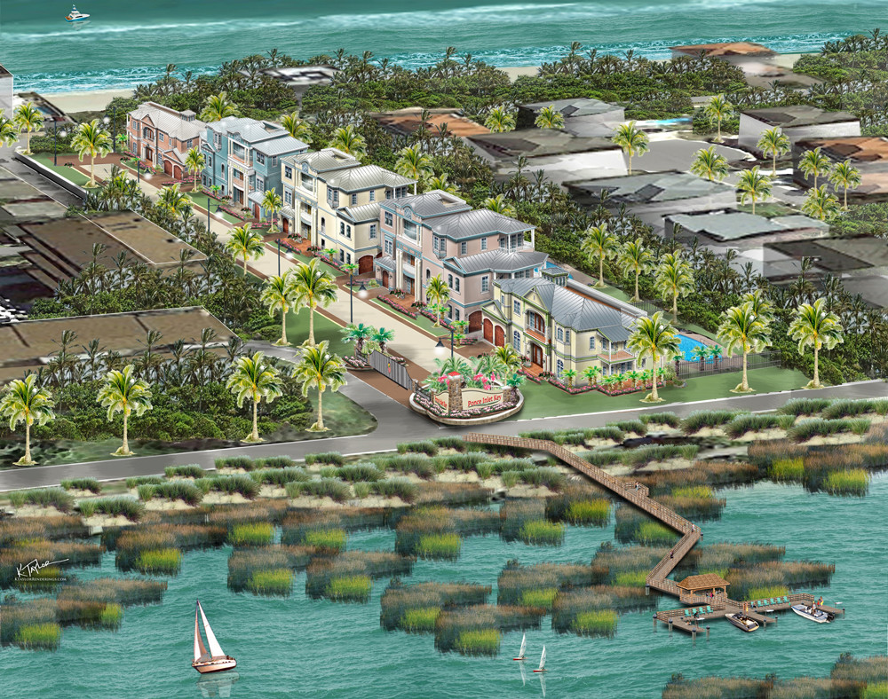 Ponce Inlet Key community rendering with boat dock