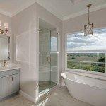 shower enlosure, bathtub, and window