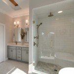 shower enclosure and vanity area
