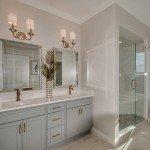 bathroom vanity and shower enclosure